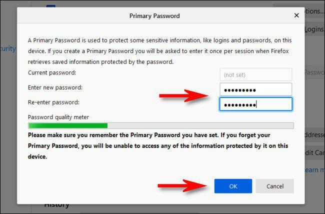 """In Firefox Settings, enter a primary password, then click """"OK."""""""